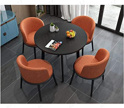 Amazon Com Leisure Table And Chairs Set Office Balcony Dessert Shop Table And Chair Combination Small Round Table Sofa Seat Lounge Area Parlor Meeting Room Rest Area Reception Drawing Room Color Orange