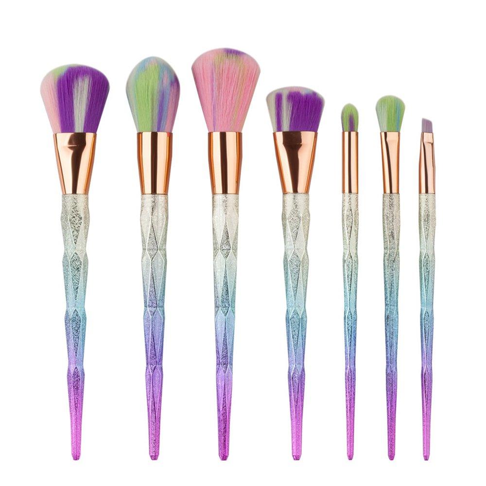 Lospu HY® 7Pcs Magic Unicorn Rainbow Diamond Handle Makeup Brushes Set Foundation Cream Powder Highlight Contour Cosmetic Beauty Brush Kit Shenzhen xiao mi zha Technology Co.Ld