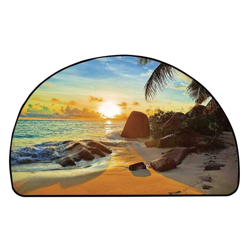 C COABALLA Coastal Decor Comfortable Semicircle Mat,Colors of Sunset Sun Rays Palm Trees Stones Shadows Shades Waterscape Picture for Living Room,11.8'' H x 23.6'' L