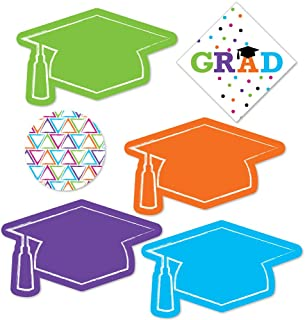 product image for Big Dot of Happiness Hats Off Grad - DIY Shaped Graduation Party Cut-Outs - 24 Count