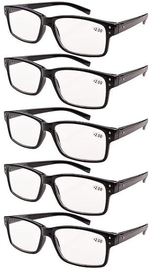 d7ce12c06c Eyekepper 5-pack Spring Hinges Vintage Reading Glasses Men Readers Black + 3.0