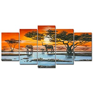 Wieco Art Elephant Family Canvas Prints Wall Art Animals Paintings Reproduction Pictures for Living Room Bedroom Home Decorations Modern 5 Panel Stretched and Framed African Landscape Giclee Artwork