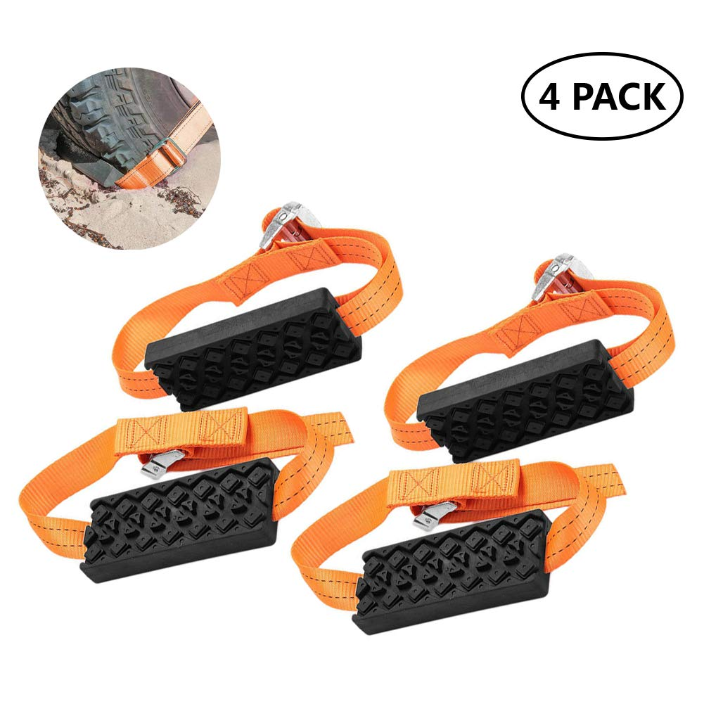 Bili-silly Car Tire Anti-Skid Block,Auto Reusable Car Anti Slip Snow Mud Tire Straps Traction for Car Truck SUV Emergency Winter Driving 4 Pack
