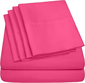 Sweet Home Collection King Size Bed Sheets-6 Piece 1500 Thread Count Fine Brushed Microfiber Deep Pocket Set-EXTRA PILLOW CASES, VALUE, Fuschia