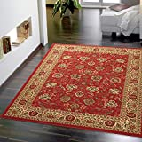 Ottomanson Ottohome Collection Persian Style Rug Oriental Rugs, 8'2'W x 9'10'L with Non-Skid Rubber Backing, Red Area
