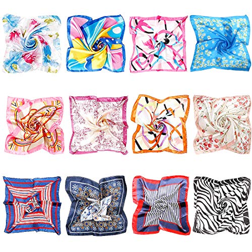 BMC 12pc Womens Silky Scarf Square Patterns & Colors Accessory Set - - Pattern Scarf Set