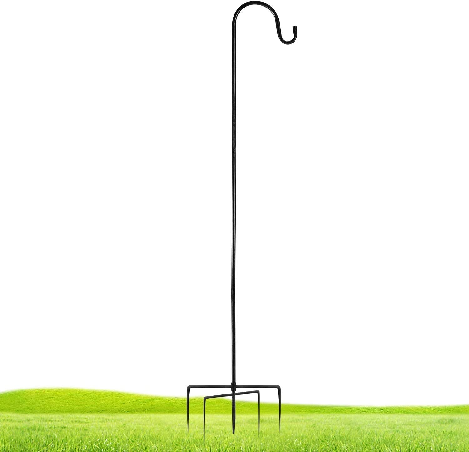 ExcMark Shepherd Hook 42.5 inch extendable Outdoor use for Hanging Bird feeders/Solar Lights/Mason Jars/Flower Baskets, Shepards Hooks for Outdoor Bird Feeder Pole. (Black, 1 Pack)