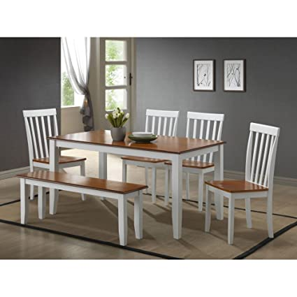 Amazon.com: Boraam Bloomington 6 Piece Dining Set with Bench - White ...