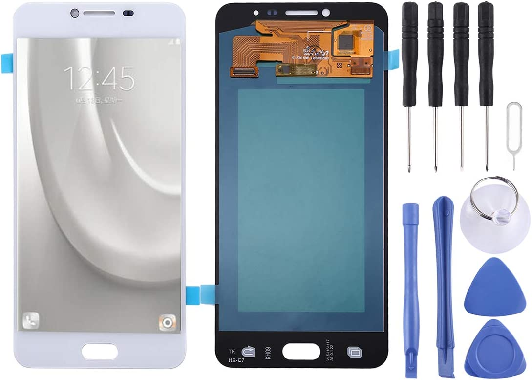 LIYUNSHU OLED Material LCD Screen and Digitizer Full Assembly for Galaxy C7 Color : White Black