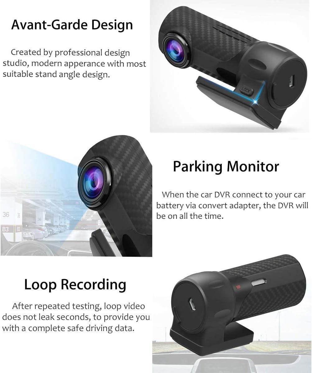 ROSEBEAR 170 Grados Dash CAM Car Dvr WiFi App Control de Voz Fhd 1080P Visi/ón Nocturna C/ámara del Coche Auto Grabadora de Video G-Sensor