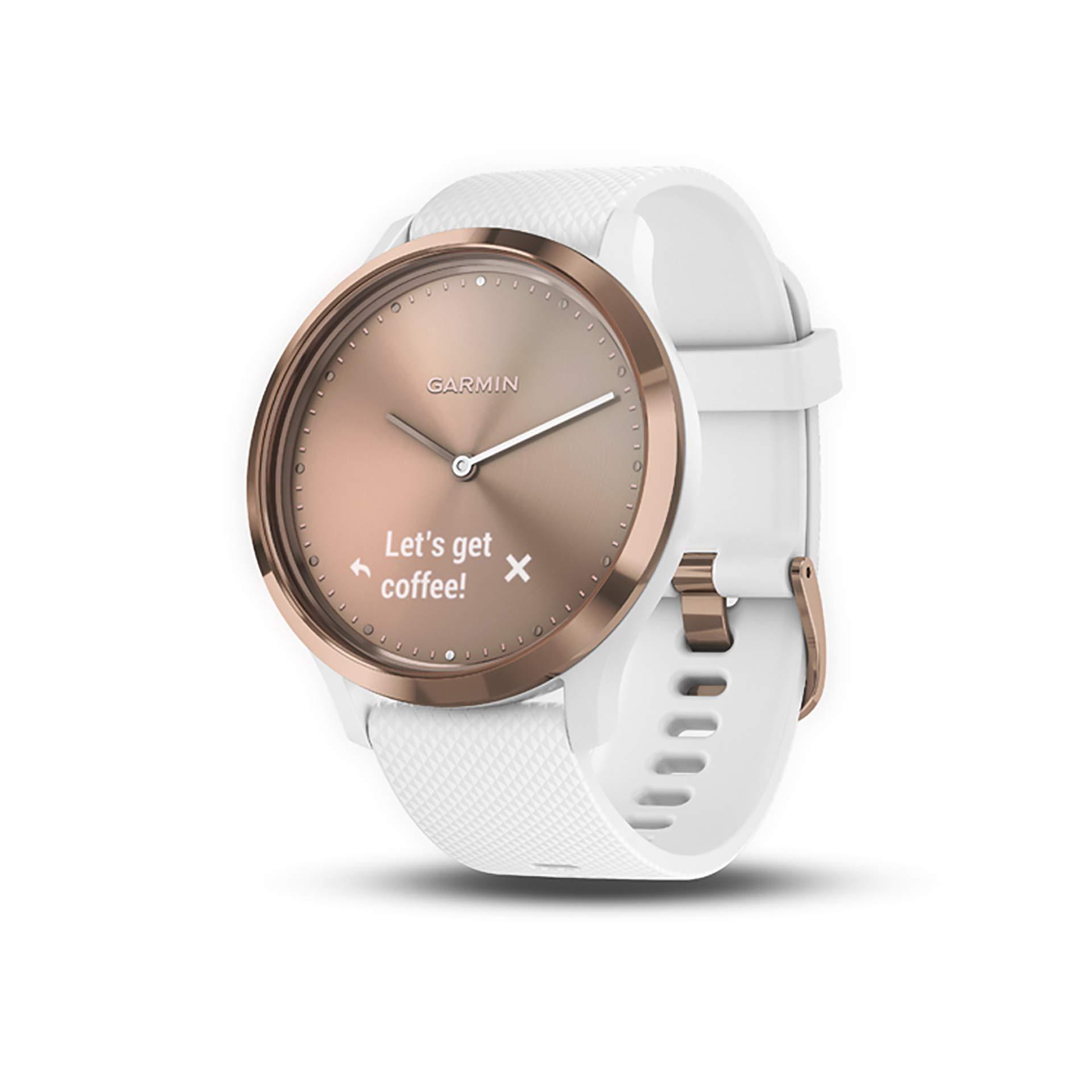 Garmin vívomove HR, Hybrid Smartwatch for Men and Women, White/Rose Gold by Garmin
