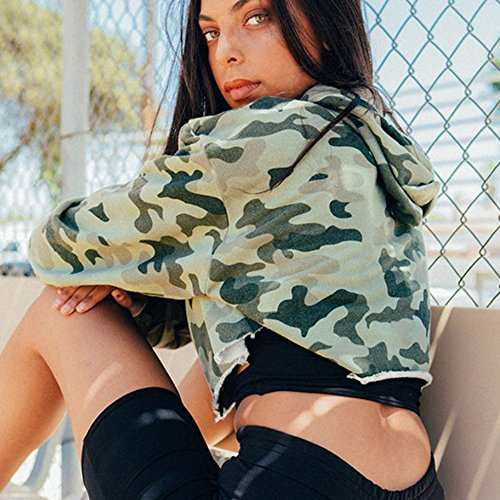 Challyhope Women Camouflage Hooded Casual Long Sleeve Sweatshirt Pullover Crop Tops (M, Camouflage) by Challyhope (Image #1)