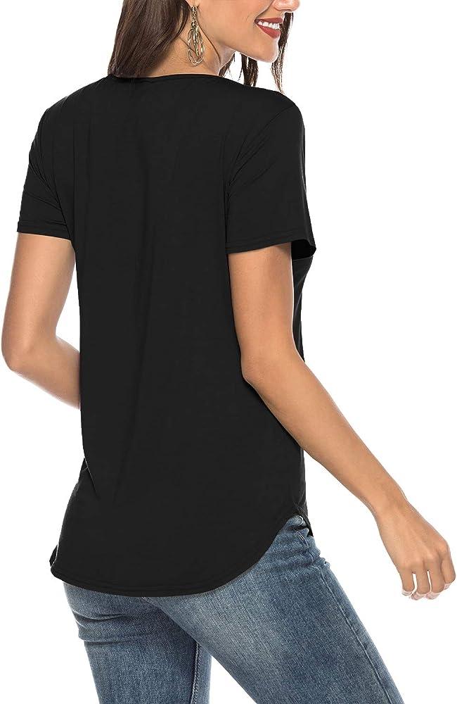 6e8ed97b22e430 Womens Casual V Neck Short Sleeve Criss Cross Summer T-Shirt Blouse Tops