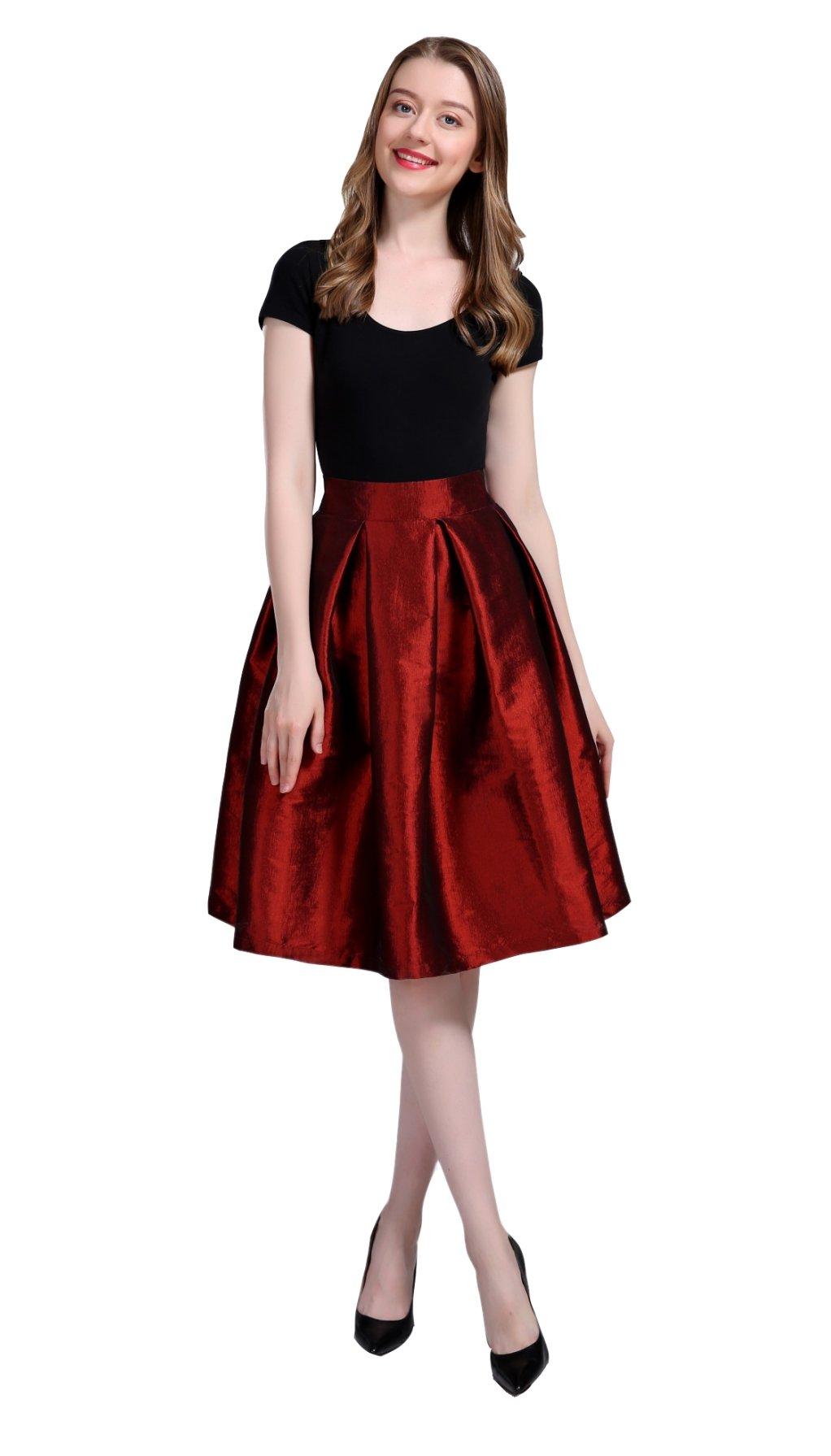 Irenwedding Women's High Waist Basic Hand Pockets Stretchy Pleated Skirt Midi Skirt Short Red XL