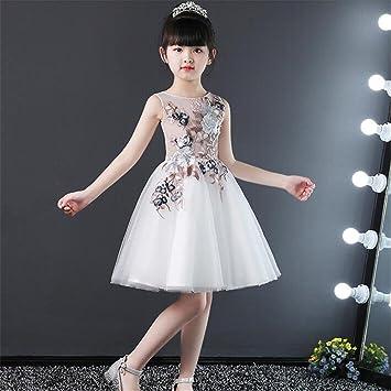 XLNSMZ Vestido de Princesa para Niñas Vestido de Fiesta Vestido de Fiesta de Cumpleaños, Blanco