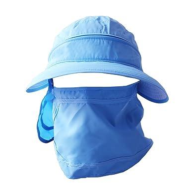 Women s Anti-UV Wide Brim Sun Visor Lightweight Caps with Neck Cover ... 1e4ed4c1084