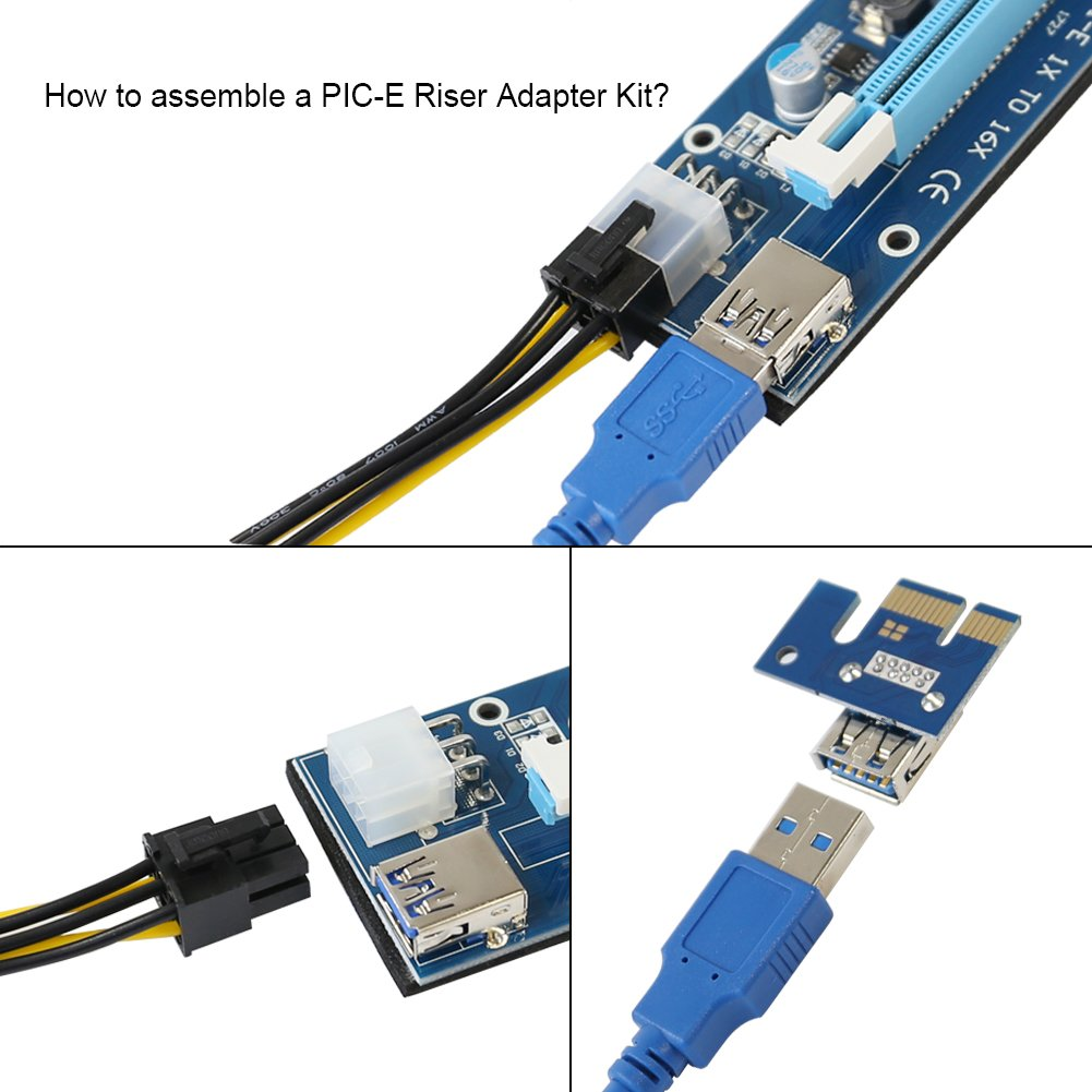 PCIe Riser, VOLADOR VER 007 PCI Express 1x to 16x Powered Riser Adapter Card - 0.6M USB 3.0 Extension Cable – 6 Pin PCI to SATA Power Cable - Ethereum Bitcoin Mining - 6 PCs by VOLADOR (Image #3)