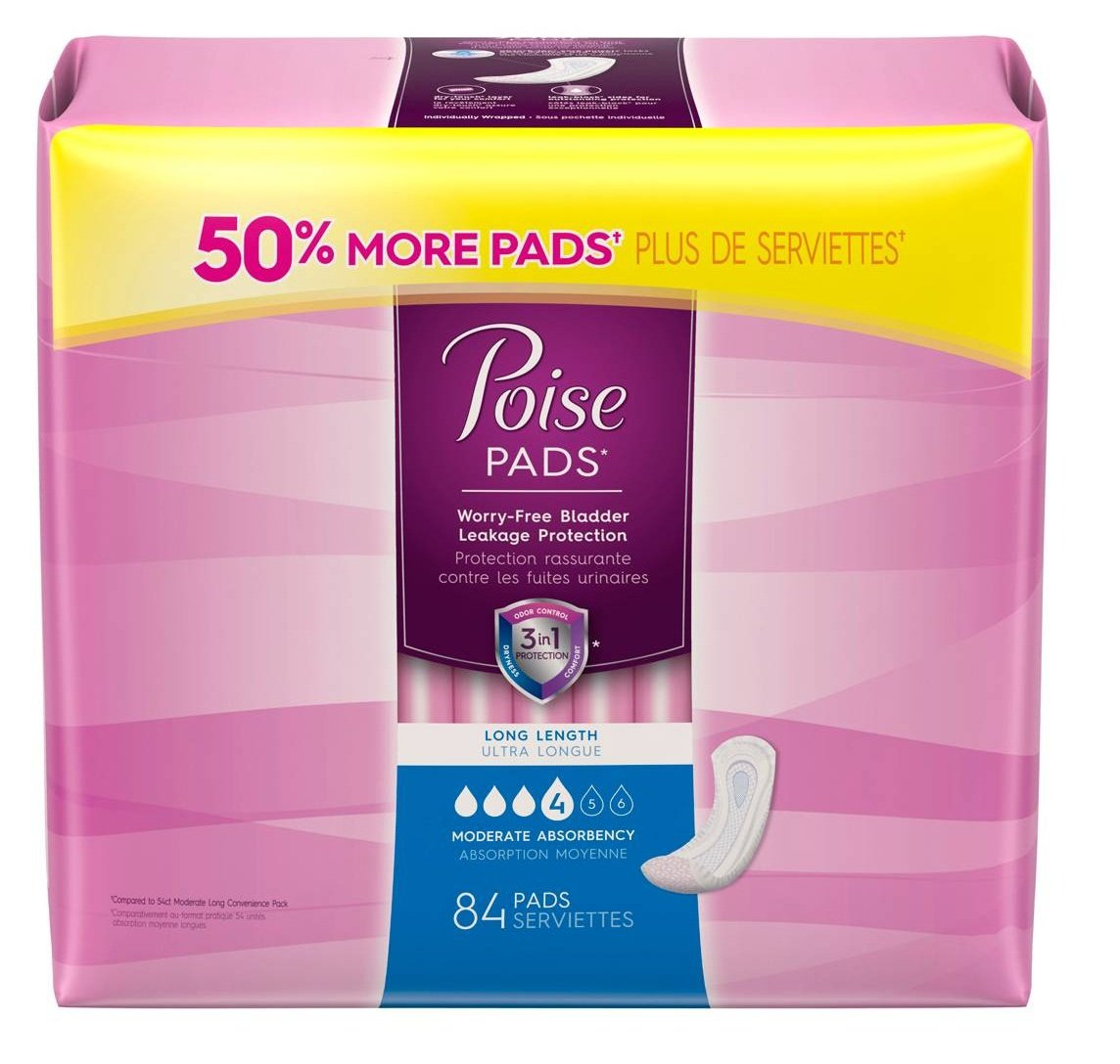 Poise Pad, Moderate Absorbency, Long, 84ct - 5 PACK