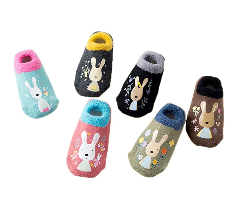 Estwell 6 Pairs Baby Infants Toddler Socks Cotton Non Slip Kids Cartoon Cute Animal Socks with Grips