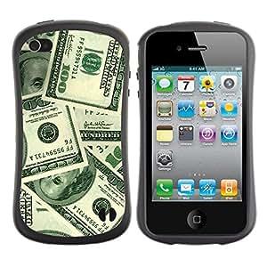 LASTONE PHONE CASE / Suave Silicona Caso Carcasa de Caucho Funda para Apple Iphone 4 / 4S / Money Hundred Dollars Wealth Sichness