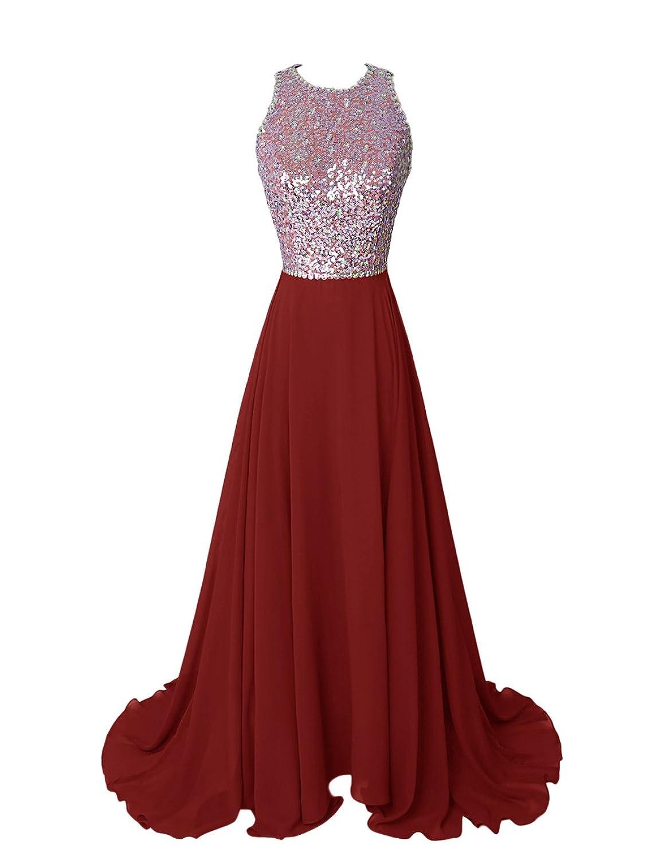 Dresstells Women's Long Scoop Sequins Chiffon Prom Dress Evening Dress Party Dress with Backless