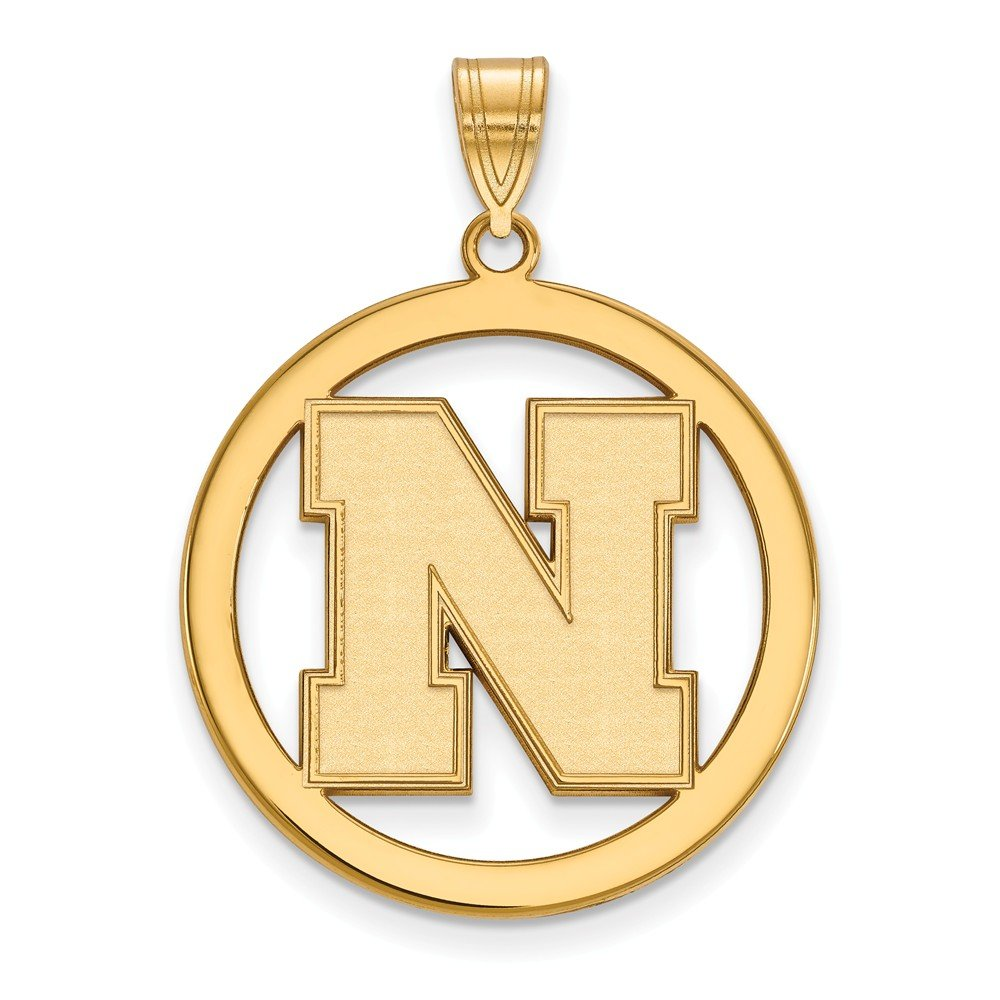 Solid 925 Sterling Silver with Gold-Toned University of Nebraska Large Pendant in Circle 24mm x 33mm