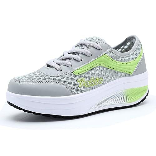 VETA - Zapatillas de Material Sintético para mujer, color Verde, talla 35 EU: Amazon.es: Zapatos y complementos