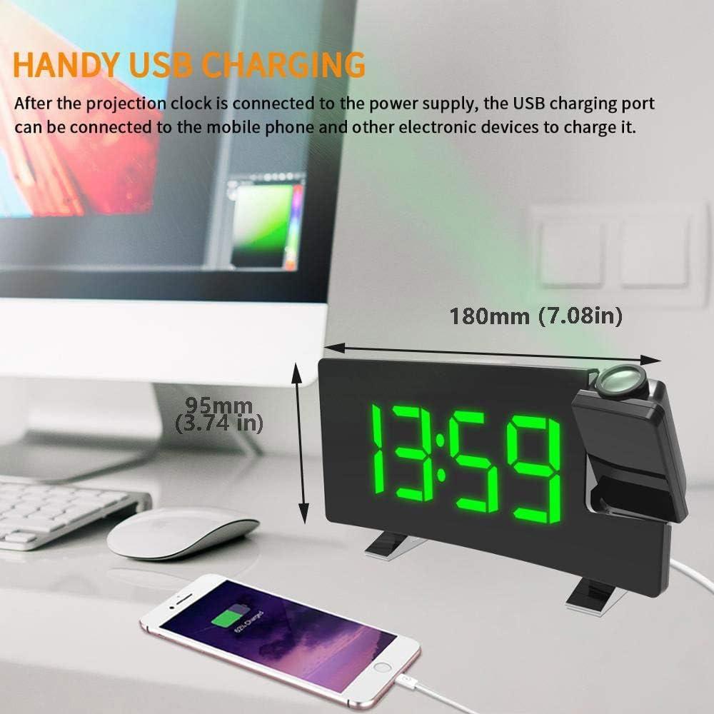 Snooze R/éveil Projection Plafond Radio R/éveil /à Projection Double Alarmes Grand /écran LED avec Dimmer Color : Blue Horloge Num/érique avec Radio FM USB Port