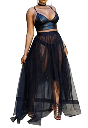 03cebaa589f156 Fubotevic Womens 2 Pcs Outfits Spaghetti Strap Crop Top Tulle Sheer Maxi  Skirt Beach Dress Black