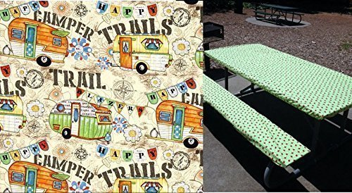 (Custom Stay Put Reusable Fitted Tablecloth for 6 Ft Table. SUPER CUTE Picnic, RV or Camping Bench 3 Piece Set, Table and 2 bench set. Camping table cover. No more hot or dirty seats.)