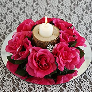 Tableclothsfactory 8 pcs Artificial Roses Flowers Candle Rings Wedding Centerpieces - Fuchsia 111