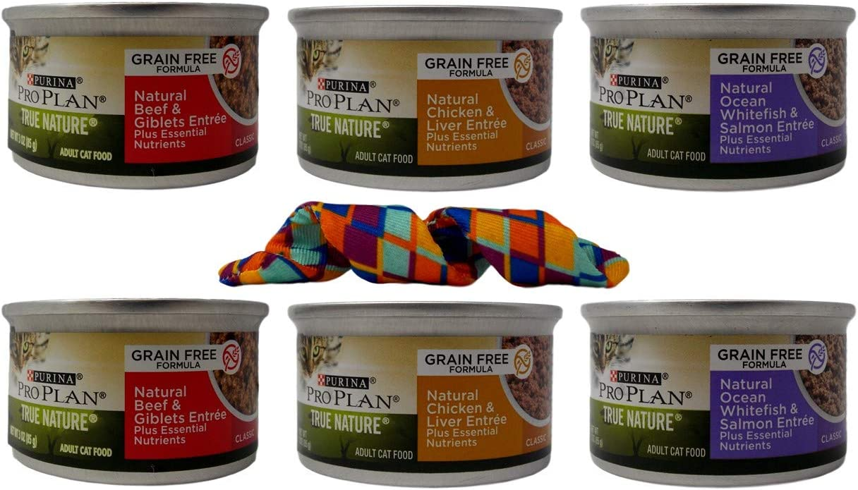 Purina Pro Plan True Nature Grain Free Canned Wet Cat Food Entree 3 Flavor 6 Can with Kong Toy Sampler Bundle, 2 Each: Beef Giblets, Chicken Liver, Ocean Whitefish Salmon (3 Ounces)