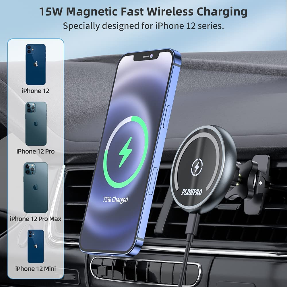 Magnetic wireless car charger phone holder