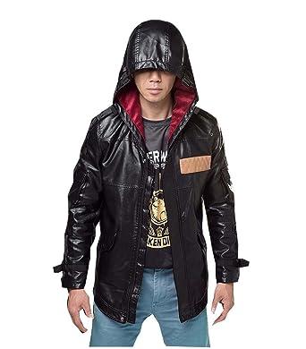 Elegant Mens Pubg Faux Leather Zip Up Closure With Hood Asian Xl Black