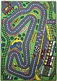 Characterland Children's Matrix Rug - 'Formula 1 Racetrack' Bedroom Road Rug - 080x120cms - Machine Washable