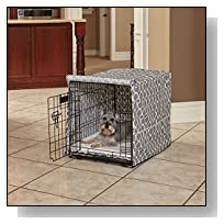 Midwest Homes for Pets CVR30T-GY Dog Crate Cover with Fabric Protector, Medium, Gray Geometric Pattern