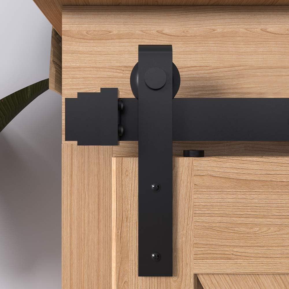 5ft Double Kit Hahaemall Heavy Duty Metal Steel Black Super Mini Sliding Barn Door Hardware Track Roller Kit Hanging TV Stand Cabinet System