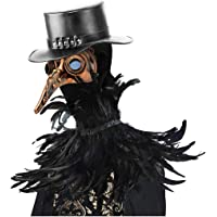 HOMELEX Gothic Black Crow Costume Feather Cape Shawl with Maleficent Horns Set