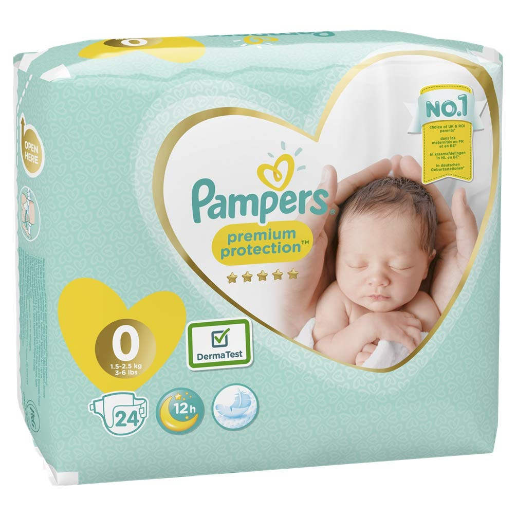 Size 1 Pampers Premium Protection Softest Comfort Nappies Jumbo Pack Approved by British Skin Foundation 144-Count