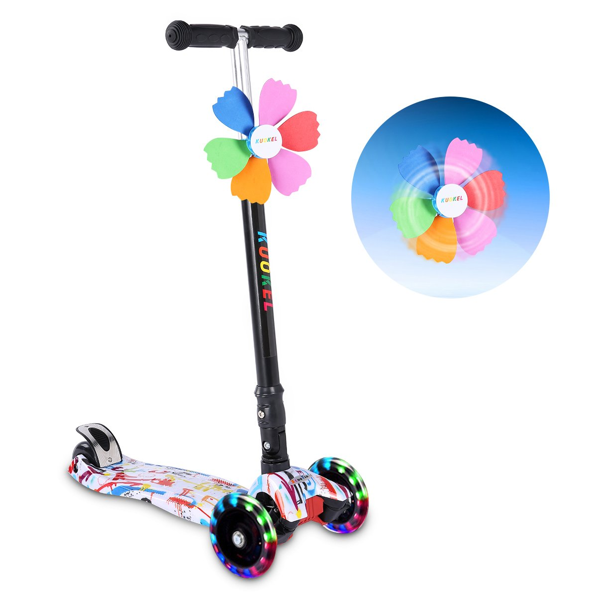 KUOKEL Children Folding Kick Scooters Age 4-10 Flashing PU Wheels 3 Wheel Adjustable Height Handle with Mini Winnower Black