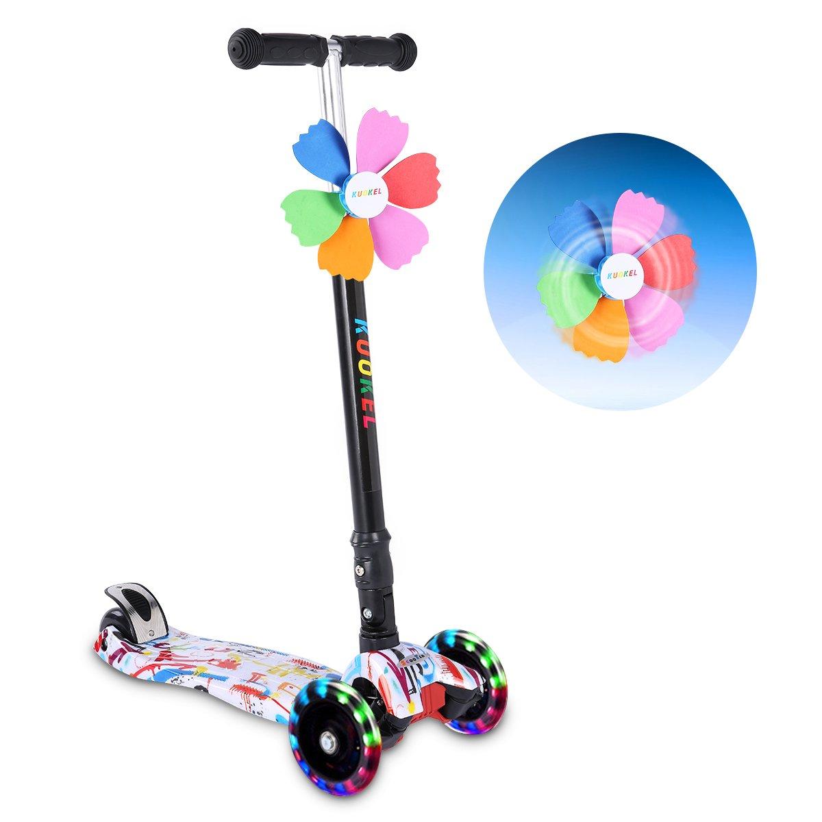 KUOKEL Patinete de 3 Ruedas con Diseño Scooter Plegable de la PU para los niños Ajustables