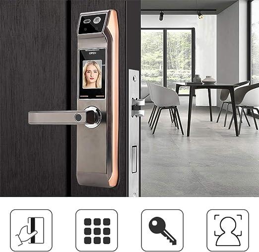 Cerradura de puerta con huella digital, reconocimiento facial de la cara Huella digital Contraseña sin llave electrónica Cerradura de puerta de seguridad inteligente Cerradura inteligente biométrica d: Amazon.es: Hogar