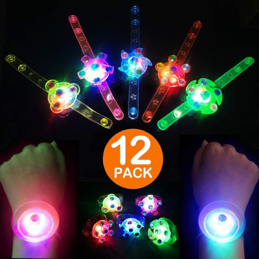 4PCS Pentacle Star and 4PCS Heart Shape Tinksky 8PCS Colorful LED Sparkle Plastic Necklace and Shining Pendants