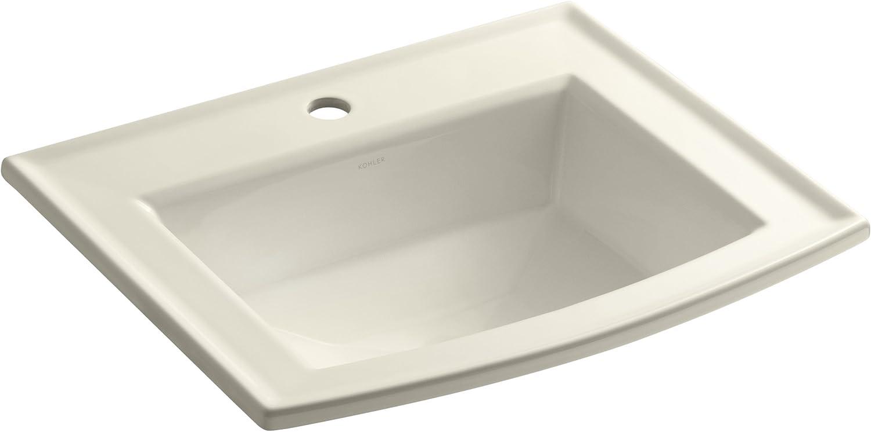 KOHLER K-2356-1-47 Archer Self-Rimming Bathroom Sink with Single-Hole Faucet Drilling, Almond