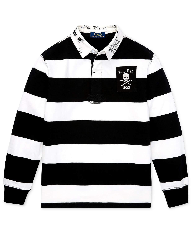 Ralph Lauren Polo Boys Long Sleeve Striped Skull Rugby Shirt (Medium 10-12)