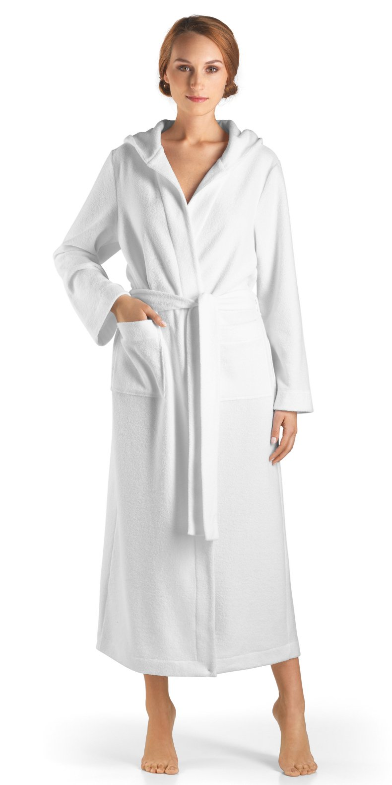 Hanro Women's Long Plush Robe with Hood, White, Small by HANRO (Image #1)