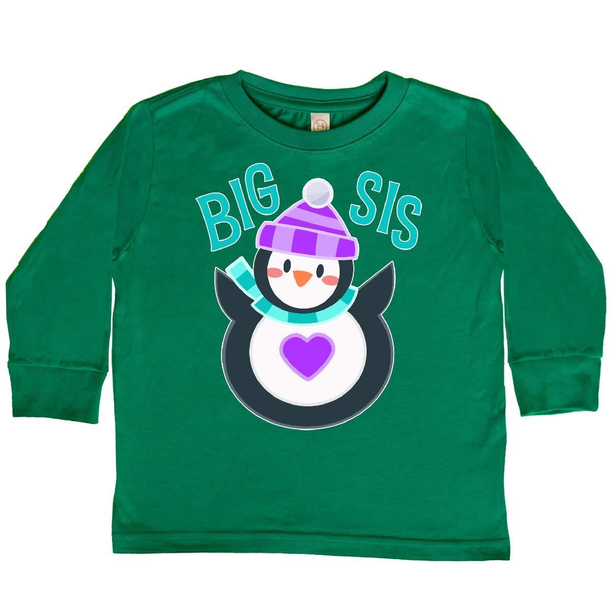 Cute Penguin Toddler Long Sleeve T-Shirt inktastic Big Sis