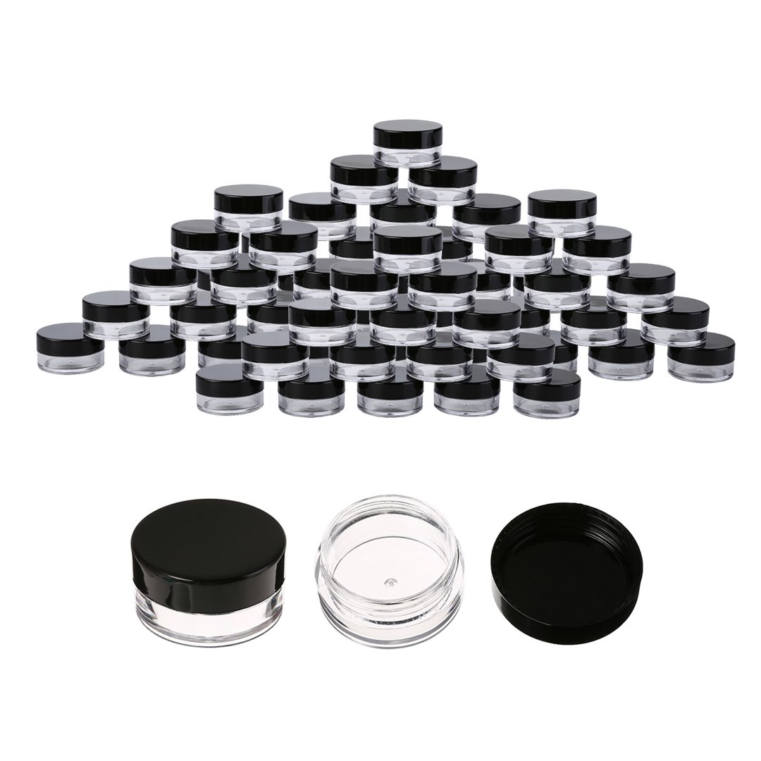 50 Pcs Cosmetic Jars Empty Plastic 5 Gram Makeup Containers (Black)
