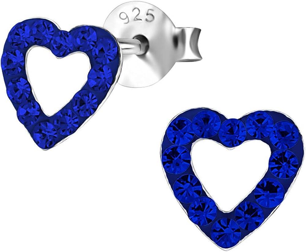 Laimons Pendientes para mujer Corazón abierto Brillante Azul Brillante Plata de ley 925