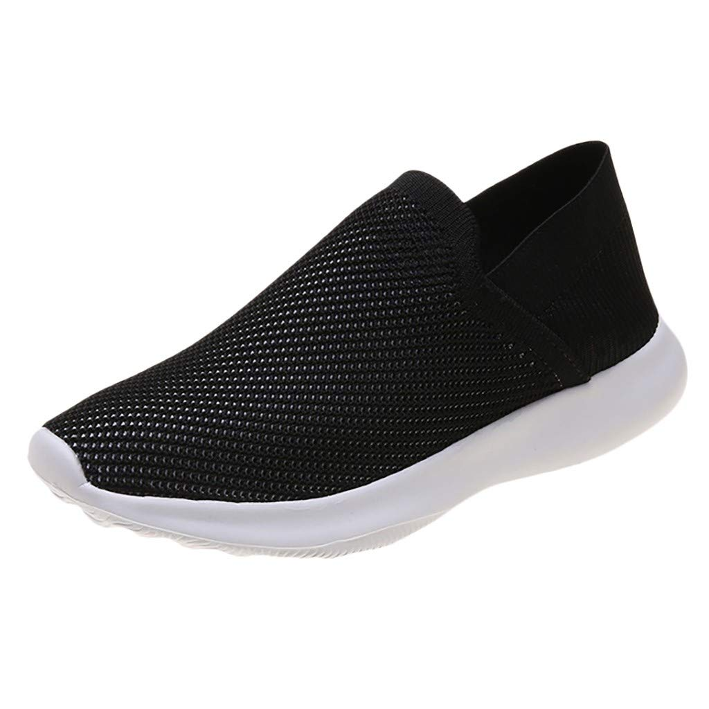ZOMUSAR Women's Flying Weaving Slip-On Shoes Sneakers Casual Shoes Student Running Shoes Black by ZOMUSAR